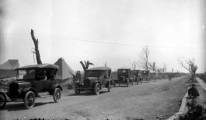 Cars driving through Griffin, Indiana for tornado relief, 1925.