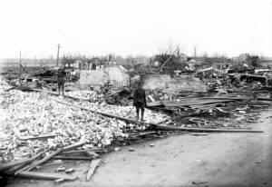 Tornado damage in Griffin, Indiana.