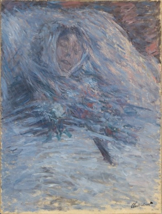 """Painting of """"Camille on Her Deathbed"""", Claude Monet, 1879."""